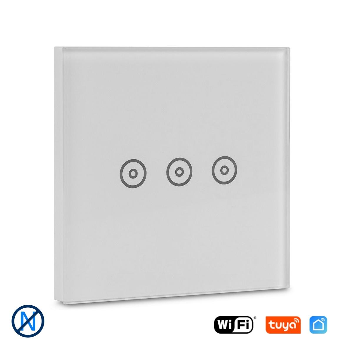 """Třítlačítkový WiFi vypínač bez """"nuly"""" - Tuya"""